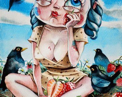tiny-strawberry-acquerello-su-carta-cotone-2015-yaridg-watercolor